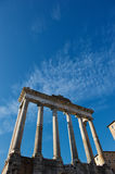 Roman forum in Rome. A great blu sky of a cold winter morning over Rome Royalty Free Stock Image