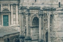 The Roman Forum Rome antique architecture ruins Italy Royalty Free Stock Image