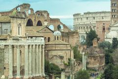 The Roman Forum Rome antique architecture ruins Italy Royalty Free Stock Photography