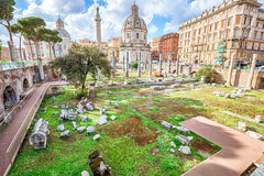 Roman Forum Rome. The famous ruins of the Roman Forum, Foro Romano, located between Palatino and Campidoglio, the most visited historic site in Rome with the Royalty Free Stock Images