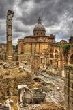 The roman forum in rome. HDR image. The roman forum in rome Royalty Free Stock Image