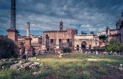 Roman Forum in Rome, Italië Stock Foto