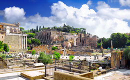 Roman forum in Rome, Italy. Panorama stock images