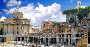 Roman forum in Rome, Italy. Royalty Free Stock Photo