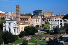 Roman Forum in Rome (Italy). The Roman Forum known by its original Latin name (Forum Romanum), is located between the Palatine hill and the Capitoline hill of Royalty Free Stock Photo