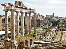 Roman forum in rome, italy. Ancient ruins in roman forum in rome, italy Royalty Free Stock Photos