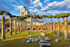Roman Forum in Rome, Italy. Vittoiano on Capitoline Hill royalty free stock photography