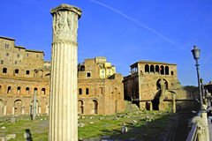 Roman forum rome Italy archaeology ruins. Historic landmark empire column antiquity Stock Photos