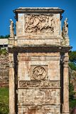 The Arch of Constantine. ROMAN FORUM, ROME, ITALY - MAY 17, 2017: Details of one of the side of the Arch of Constantine next to the Coliseum in Rome Stock Photo