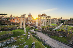 Roman Forum in Rome, Italy during sunrise. Stock Image