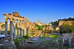 Roman Forum in Rome, Italy. A view of the Roman Forum in Rome, Italy, with the Coliseum in the background Royalty Free Stock Photo