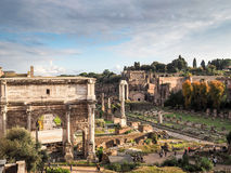 The Roman Forum in Rome. Panoramic view of The Roman Forum in Rome Stock Photos