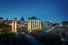 Roman Forum in Rome at sunset Stock Images
