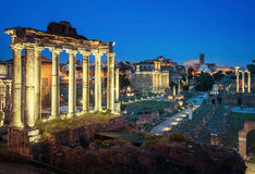 Roman Forum in Rome at sunset, Italy Stock Images