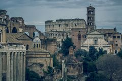 The Roman Forum Rome antique architecture ruins Italy Royalty Free Stock Photo
