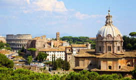 Roman Forum Rome. View from the Palatine Hill at roman forum in Rome, Italy Stock Photos