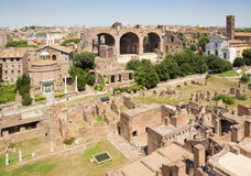 Roman forum ruins. Ruins of the ancient and famous roman forum in the city of Rome Stock Image