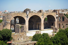 Roman forum ruins. Ruins of the ancient and famous roman forum in the city of Rome Stock Photo
