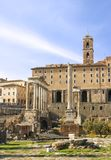 Roman Forum Ruins. The Temple of Saturn and Column of Phocas in the Roman Forum in Rome, Italy Royalty Free Stock Images