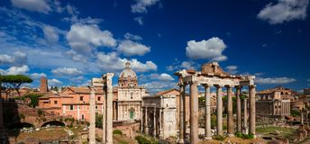 Roman Forum ruins. Roman Forum with ancient ruins and beautiful sky Stock Photo