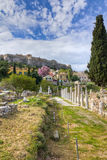 Roman forum ruins, Athens, Greece. Roman forum ruins, Acropolis in background, Athens, Greece Royalty Free Stock Image