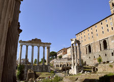 Roman Forum ruins. In the center of Rome Royalty Free Stock Images