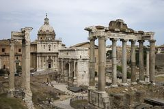 Roman Forum ruins in Italy. Royalty Free Stock Image