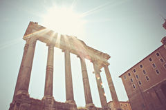 Roman Forum ruins in Italy. Roman Forum ruins in Rome, Italy, vintage look Royalty Free Stock Photos