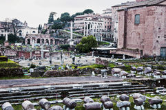 Roman Forum ruins. The new works on the Roman Forum ruins in Rome Royalty Free Stock Photos