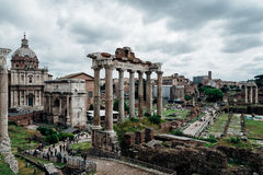 Roman Forum ruins. The new works on the Roman Forum ruins in Rome Royalty Free Stock Photo