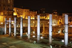 Roman forum ruins in night Royalty Free Stock Photo