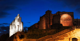 Roman Forum ruins at night Royalty Free Stock Images