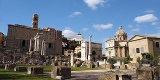 Roman Forum Ruins på Roma, Italien arkivbild
