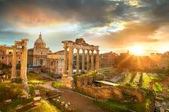 Roman Forum. Ruins of Roman Forum in Rome, Italy during sunrise. Stock Images
