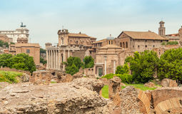 Roman Forum. Ruins RomanForum in The Ancient Part of Roma Royalty Free Stock Photos