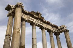 Roman Forum ruins, Rome, Italy. Architectural structure in the Roman Forum ruins, Rome, Italy Royalty Free Stock Photos