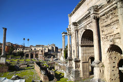 Roman Forum ruins in Rome, Italy. The Roman Forum ruins in Rome, Italy Stock Photo