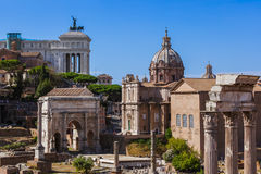 Roman forum ruins in Rome Italy. Architecture background Royalty Free Stock Photo