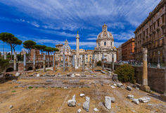 Roman forum ruins in Rome Italy. Architecture background Stock Photos