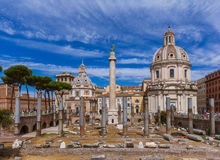 Roman forum ruins in Rome Italy. Architecture background Stock Photo