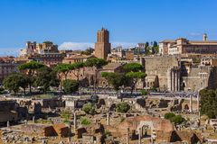 Roman forum ruins in Rome Italy. Architecture background Royalty Free Stock Photography