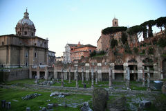 Roman forum ruins in Rome, Italy Stock Images