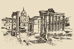 Roman Forum Ruins in Rome Landmark Italy. Roman Forum Ruins in Rome Landmark in Rome Italy vintage engraved illustration hand drawn sketch royalty free illustration