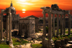 Roman Forum Ruins Rome Tilt Shift Sunset Sunrise. Tilt shift miniature sunset or sunrise on Roman forum ruins in Rome - August 2014 Royalty Free Stock Image