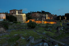 Roman Forum ruins at sunset. In Rome, Italy Stock Image