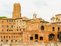 Roman Forum. Ruins of times of the Roman Empire. Tower of Milizie, Trajan`s Market and Casa dei Cavalieri di Rodi. Rome, Italy Stock Photography