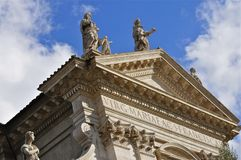 Roman Forum. Sculptures on the tympanon of Santa Francesca Romana church; Forum Romanum Stock Photography