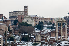 The Roman Forum seen from the Capitoline Hill. The Roman Forum is the oldest part of the city of Rome, Italy Stock Image