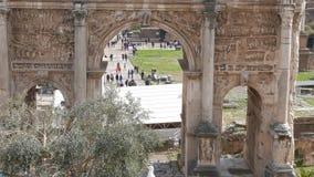Roman Forum, Septimius Severus Arch. Rome, Italy stock video footage