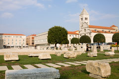 The Roman Forum and St. Mary's Church in Zadar Royalty Free Stock Photos